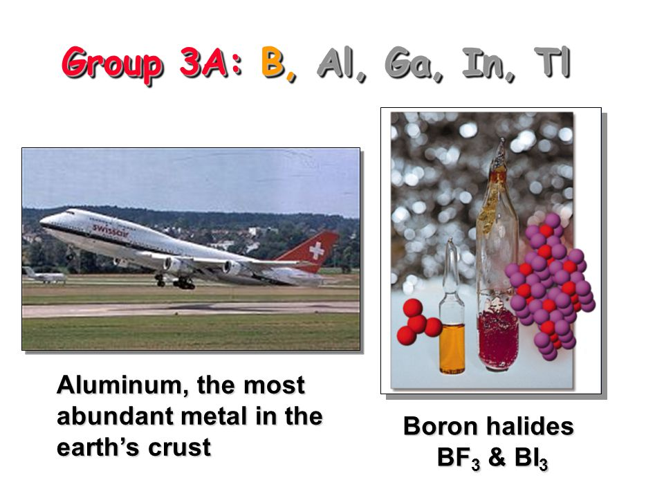 Group 3A: B, Al, Ga, In, Tl Aluminum, the most abundant metal in the