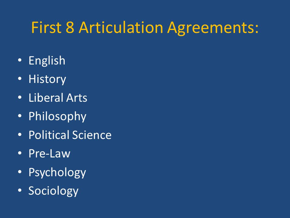 First 8 Articulation Agreements: