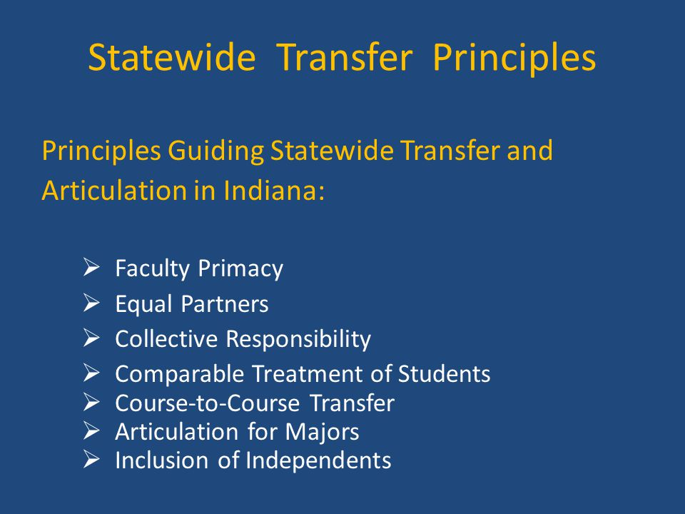 Statewide Transfer Principles