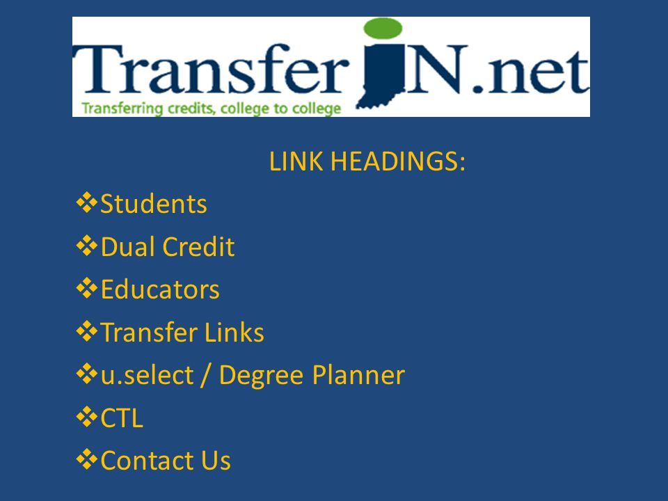 LINK HEADINGS: Students. Dual Credit. Educators. Transfer Links. u.select / Degree Planner. CTL.