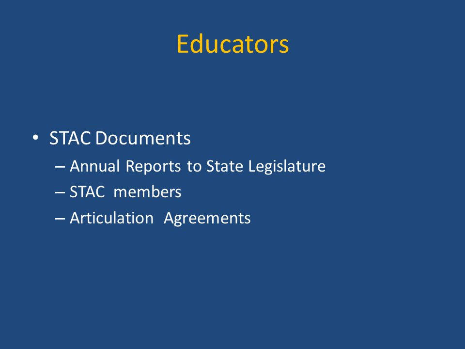 Educators STAC Documents Annual Reports to State Legislature