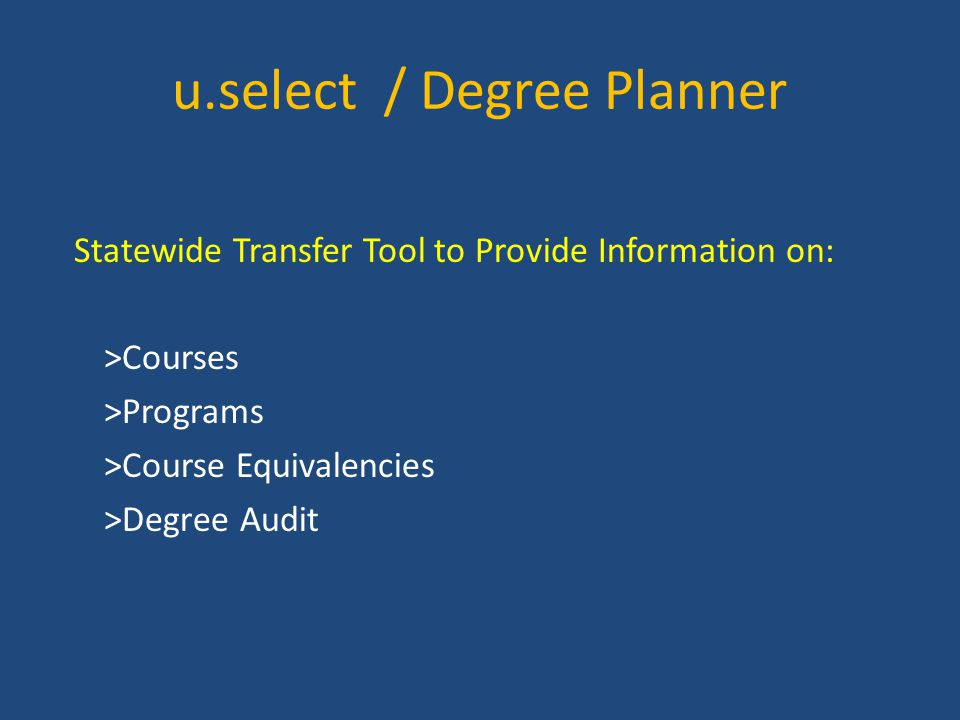 u.select / Degree Planner