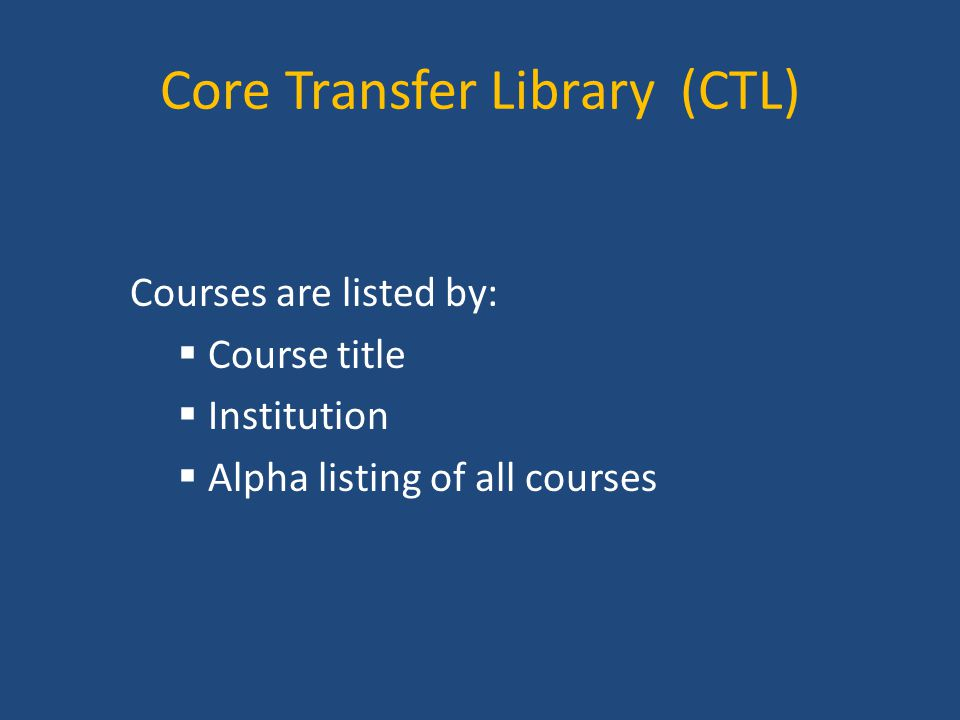 Core Transfer Library (CTL)