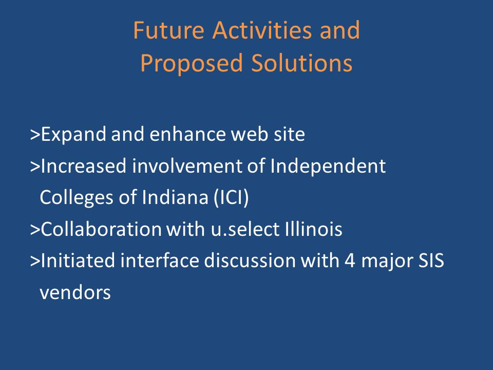 Future Activities and Proposed Solutions