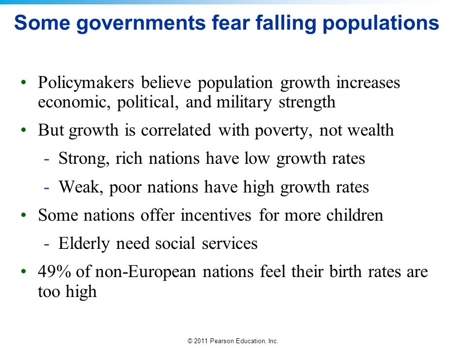 Some governments fear falling populations