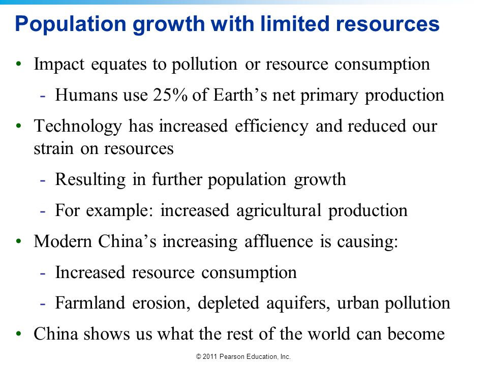 Population growth with limited resources