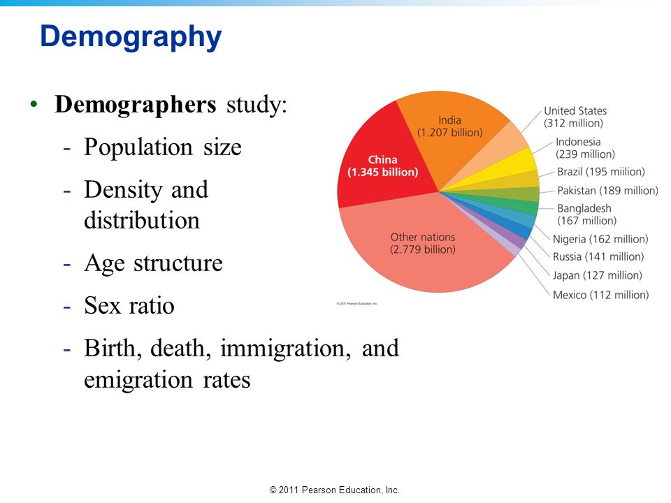 Demography Demographers study: Population size
