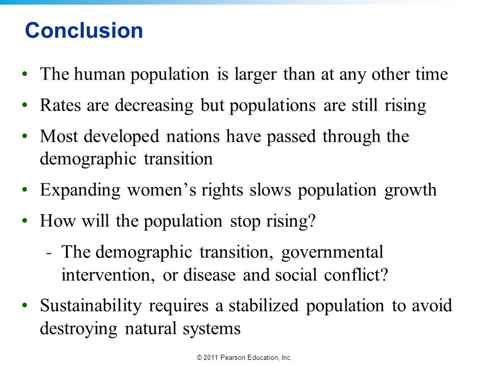 Conclusion The human population is larger than at any other time