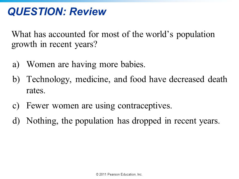 QUESTION: Review What has accounted for most of the world's population growth in recent years a) Women are having more babies.