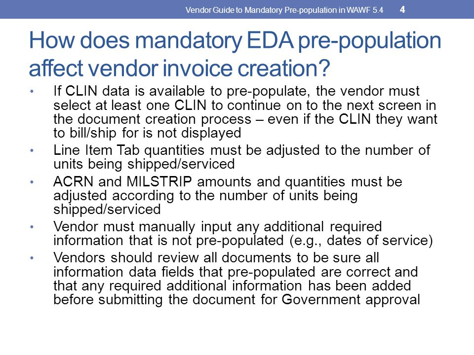 How does mandatory EDA pre-population affect vendor invoice creation
