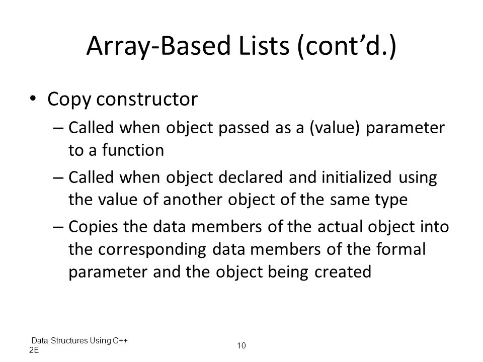 Array-Based Lists (cont'd.)