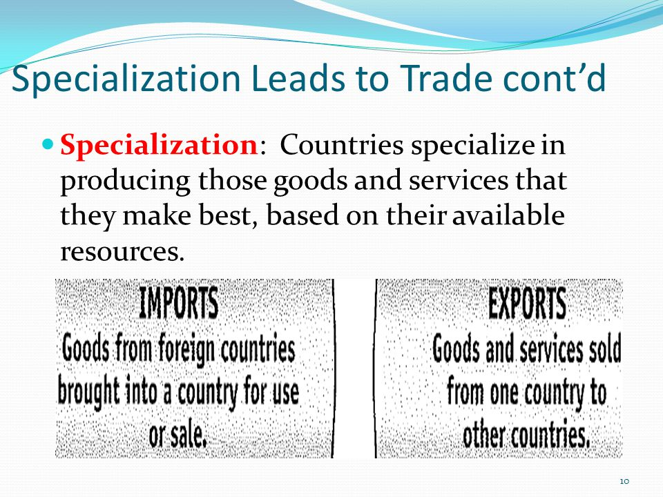 Specialization Leads to Trade cont'd