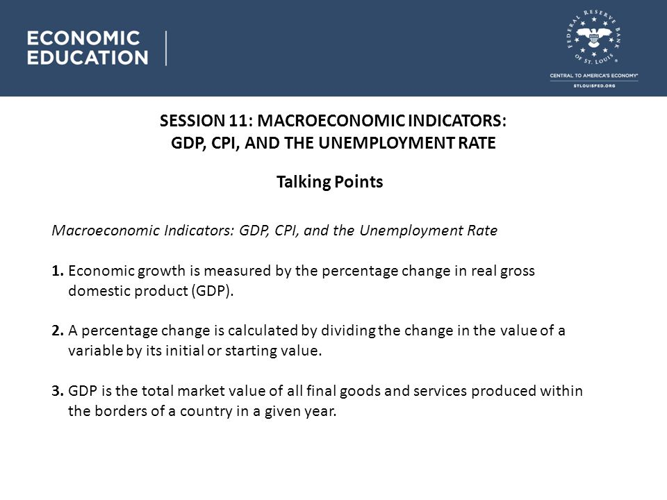SESSION 11: MACROECONOMIC INDICATORS: GDP, CPI, AND THE UNEMPLOYMENT RATE