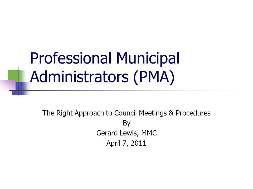 Professional Municipal Administrators (PMA)