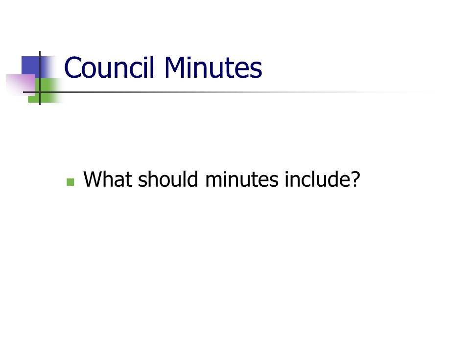 Council Minutes What should minutes include