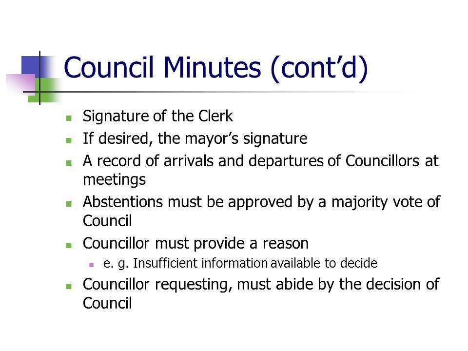 Council Minutes (cont'd)