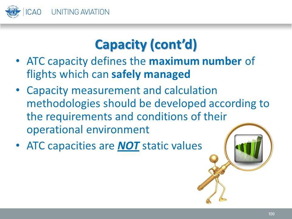 Capacity (cont'd) ATC capacity defines the maximum number of flights which can safely managed.