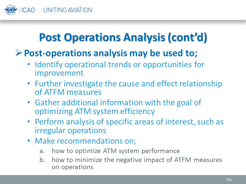Post Operations Analysis (cont'd)