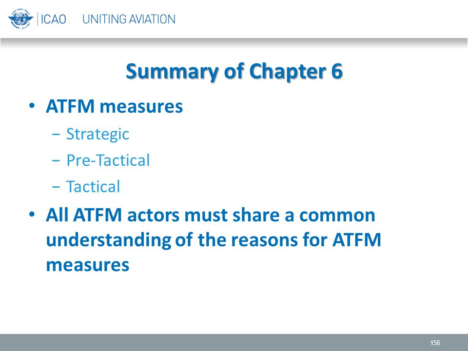 Summary of Chapter 6 ATFM measures