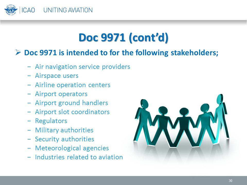 Doc 9971 (cont'd) Doc 9971 is intended to for the following stakeholders; Air navigation service providers.