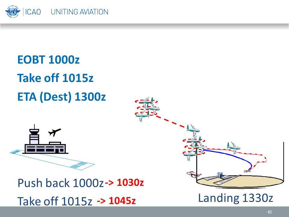 EOBT 1000z Take off 1015z ETA (Dest) 1300z