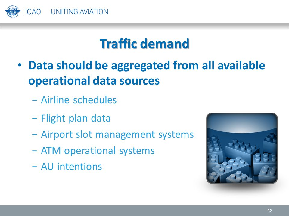 Traffic demand Data should be aggregated from all available operational data sources. Airline schedules.