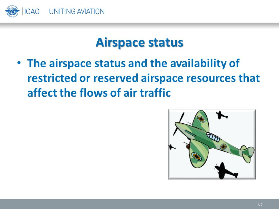 Airspace status The airspace status and the availability of restricted or reserved airspace resources that affect the flows of air traffic.