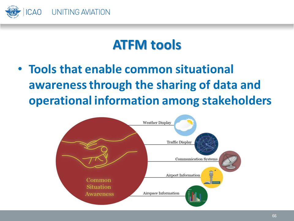 ATFM tools Tools that enable common situational awareness through the sharing of data and operational information among stakeholders.