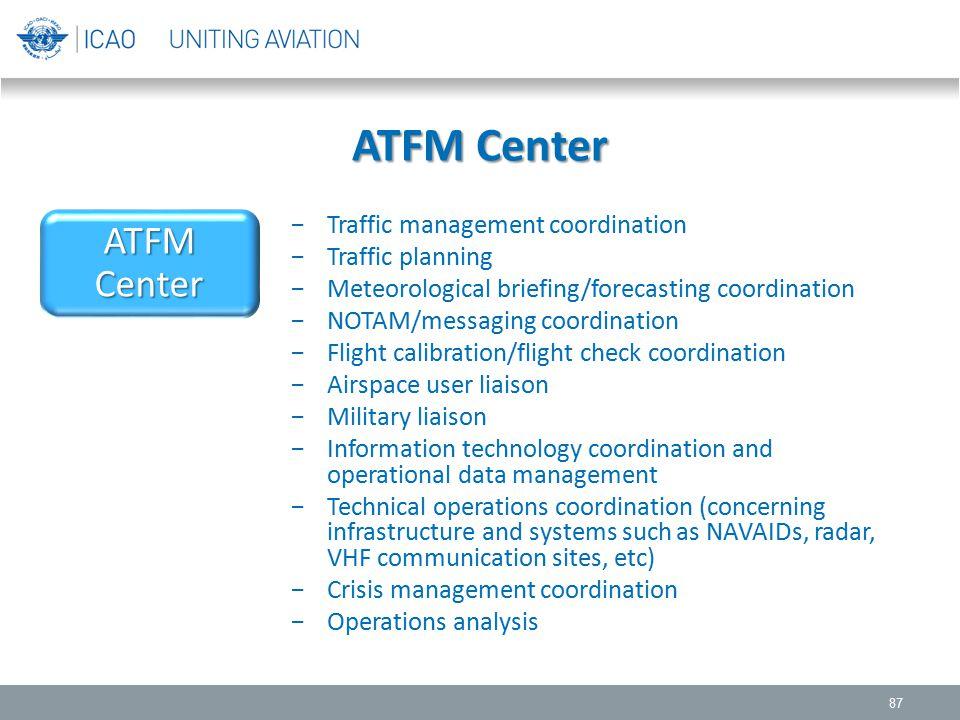 ATFM Center ATFM Center Traffic management coordination