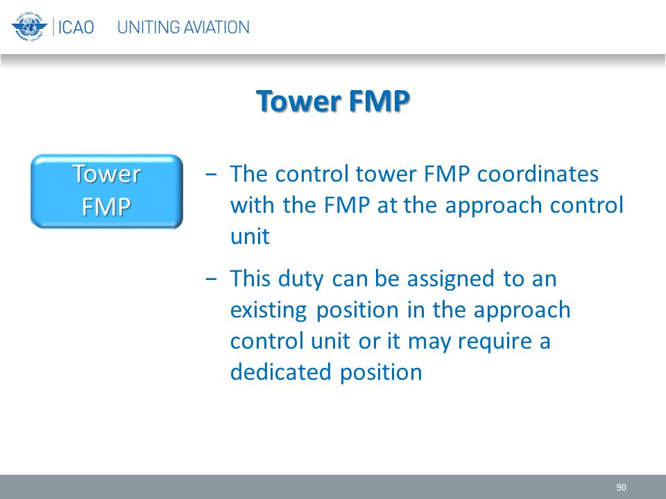 Tower FMP Tower. FMP. The control tower FMP coordinates with the FMP at the approach control unit.