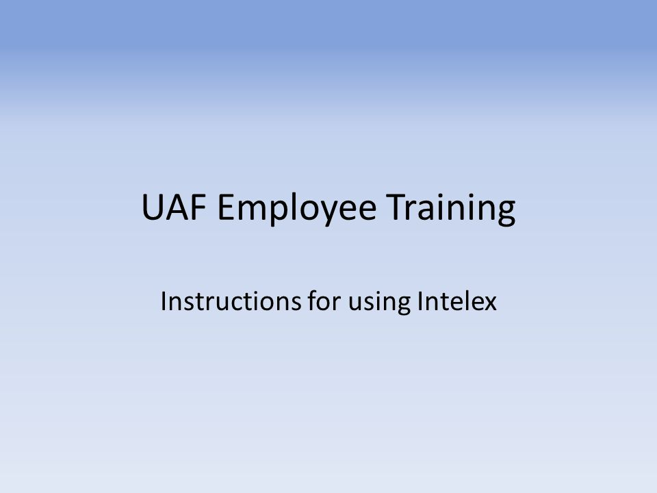 Instructions for using Intelex