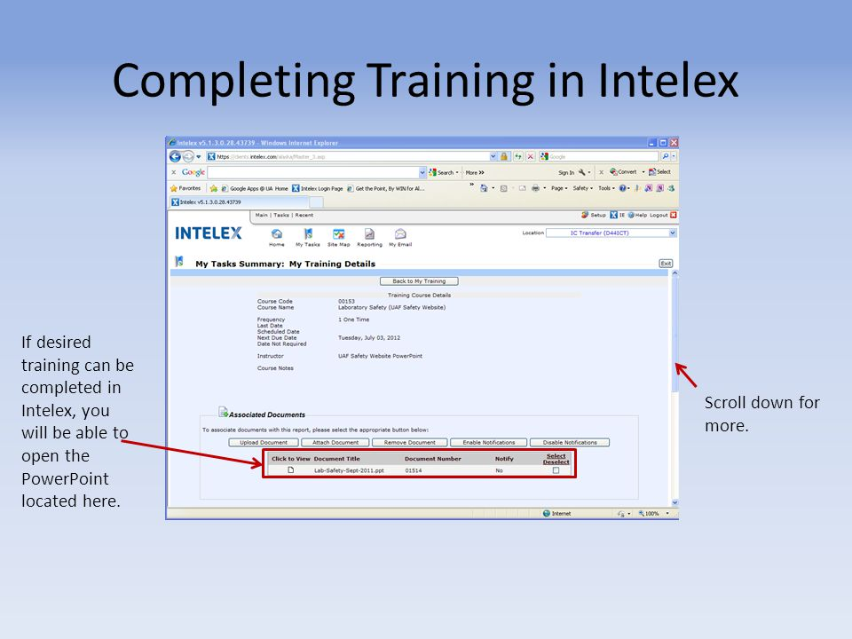 Completing Training in Intelex