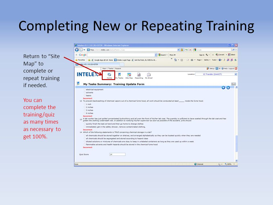 Completing New or Repeating Training