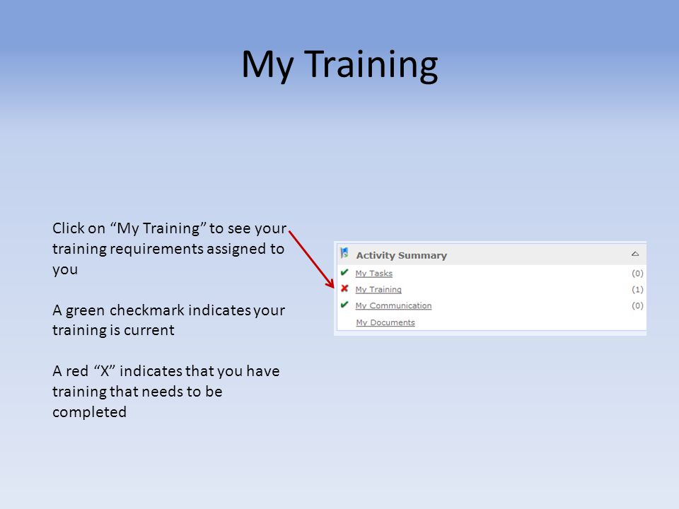 My Training Click on My Training to see your training requirements assigned to you. A green checkmark indicates your training is current.