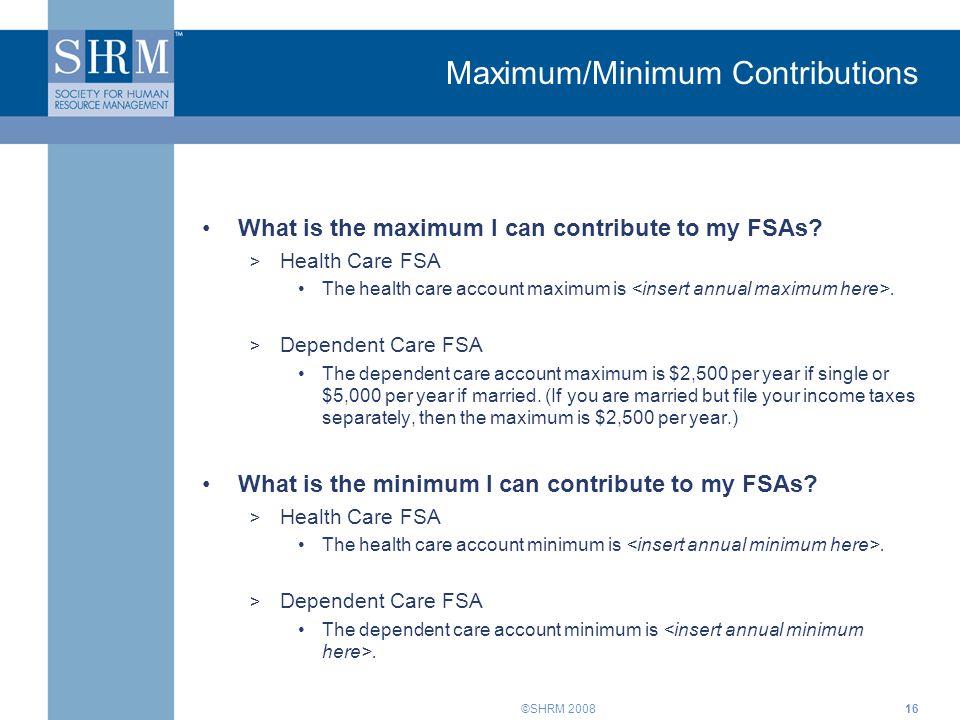 Maximum/Minimum Contributions