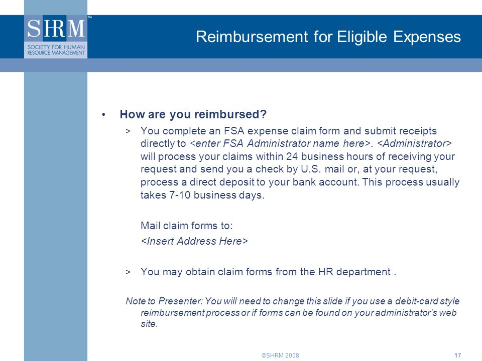 Reimbursement for Eligible Expenses