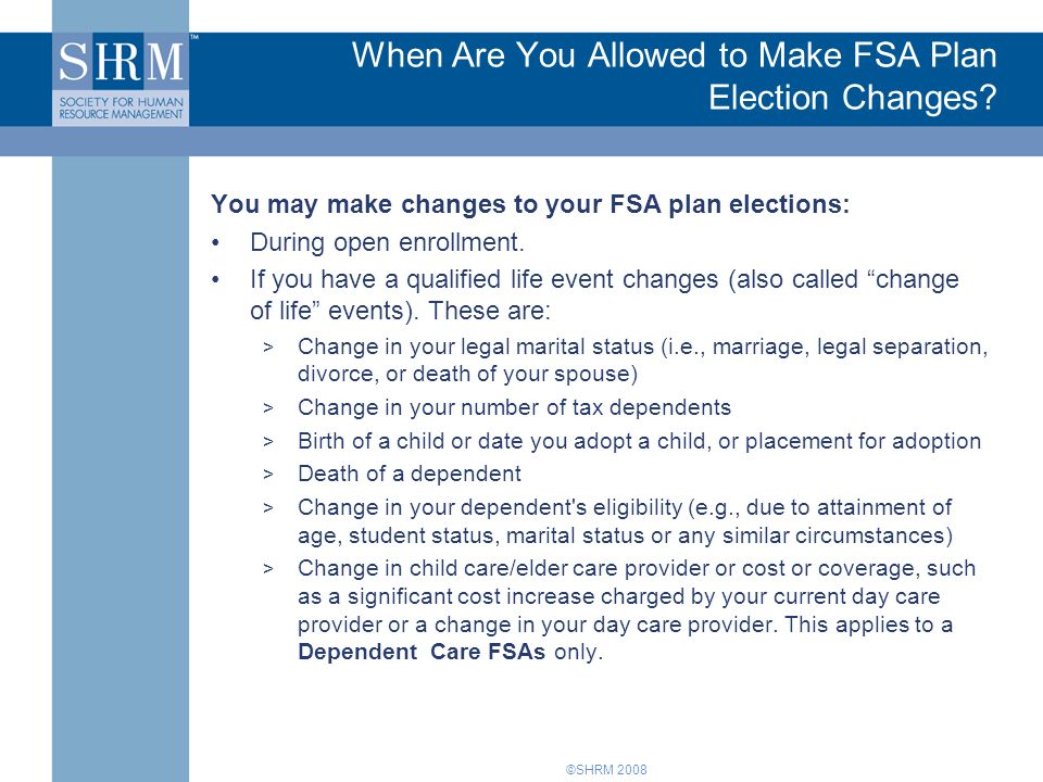 When Are You Allowed to Make FSA Plan Election Changes