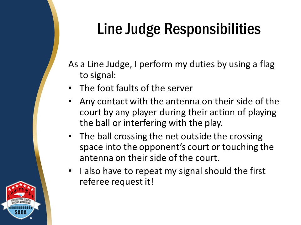 Line Judge Responsibilities
