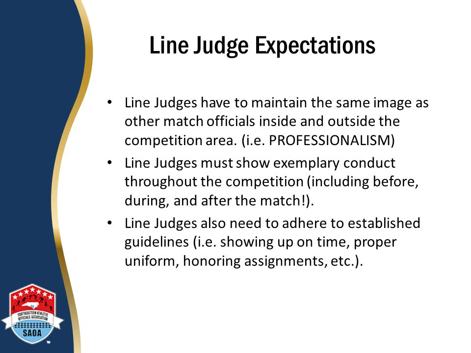 Line Judge Expectations