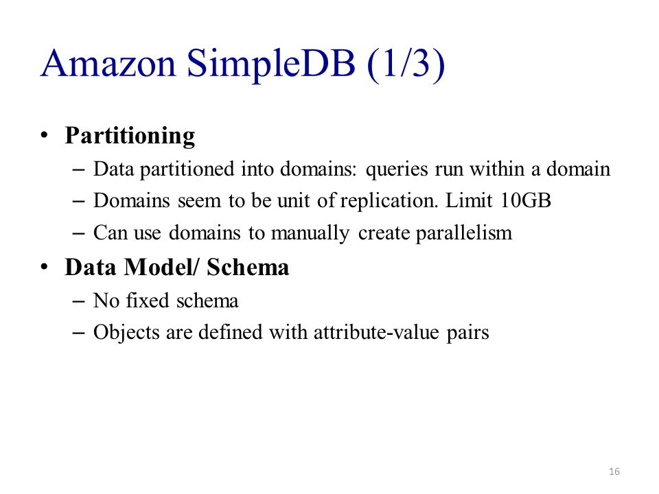 Amazon SimpleDB (1/3) Partitioning Data Model/ Schema