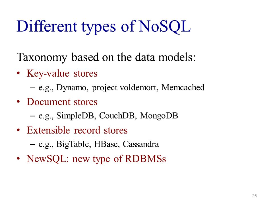 Different types of NoSQL