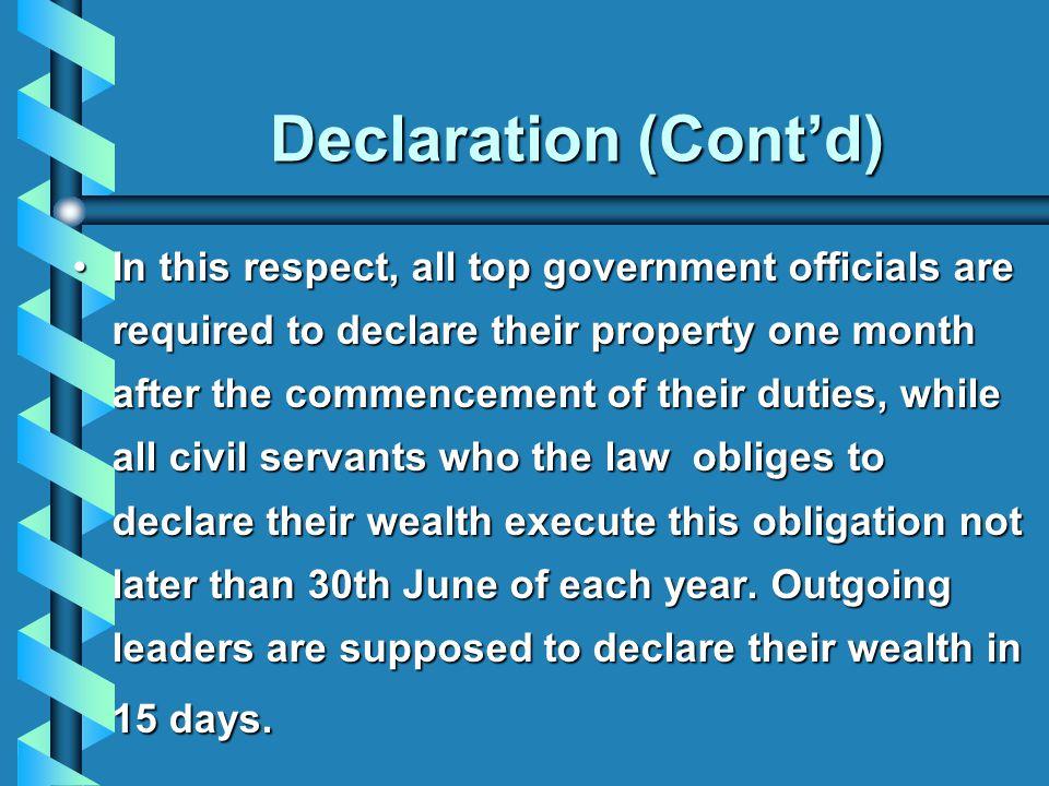 Declaration (Cont'd)