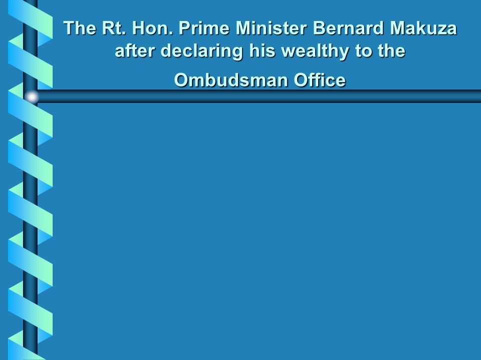 The Rt. Hon. Prime Minister Bernard Makuza after declaring his wealthy to the Ombudsman Office