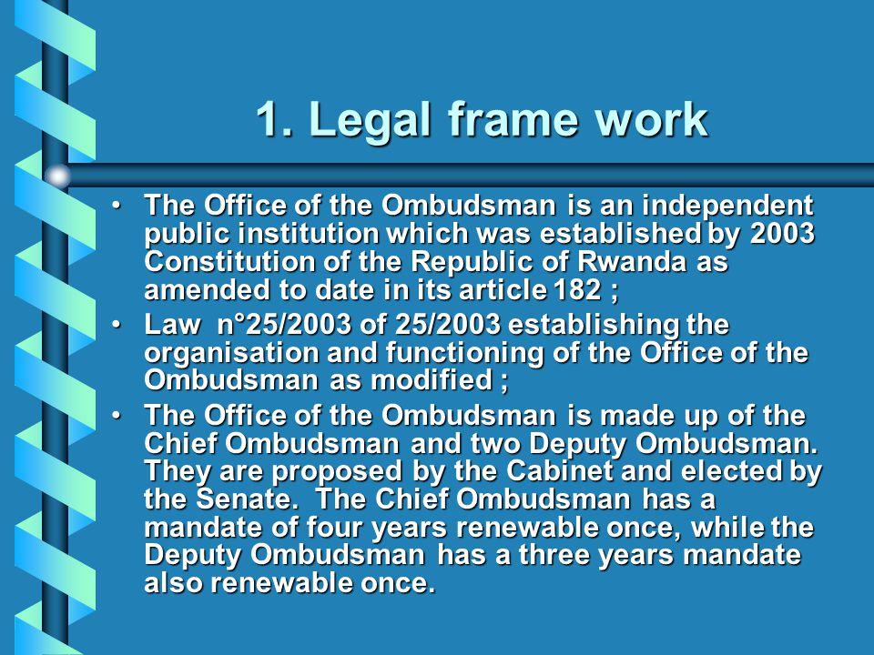 1. Legal frame work