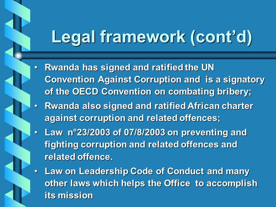 Legal framework (cont'd)
