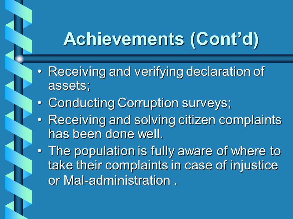 Achievements (Cont'd)