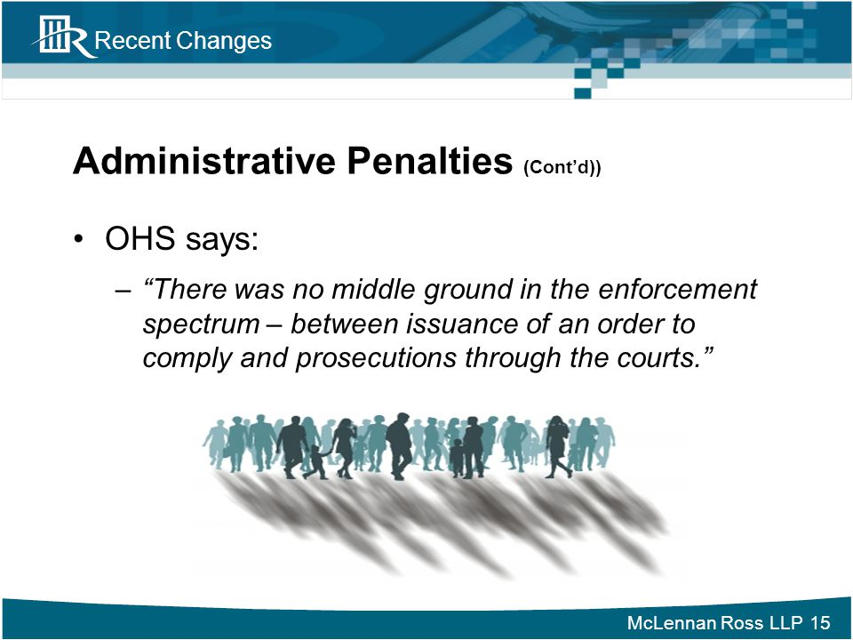 Administrative Penalties (Cont'd))