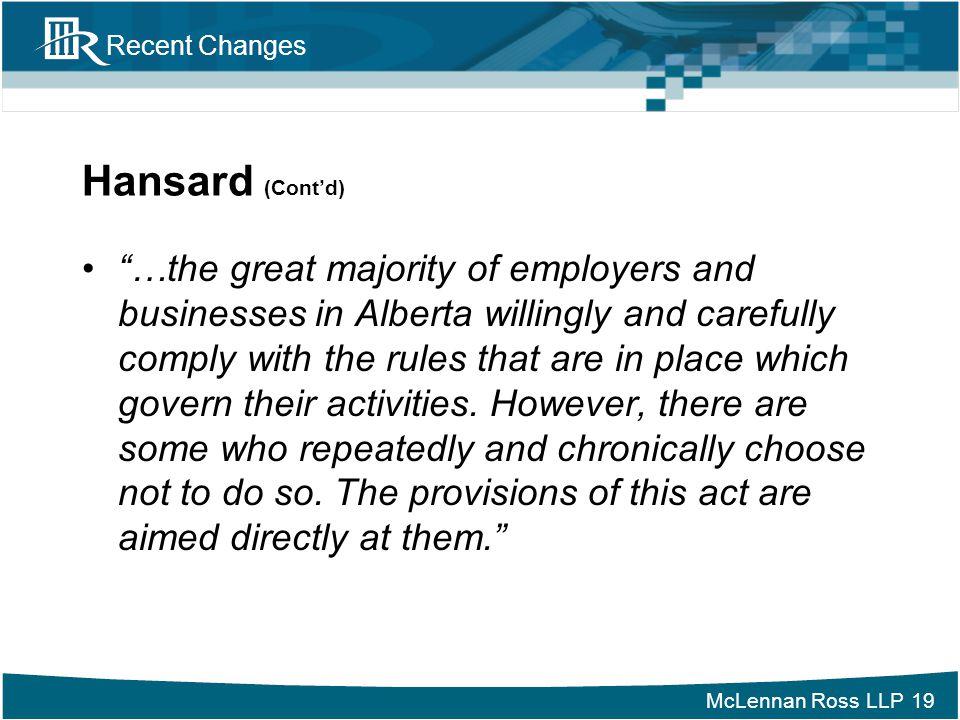 Hansard (Cont'd)