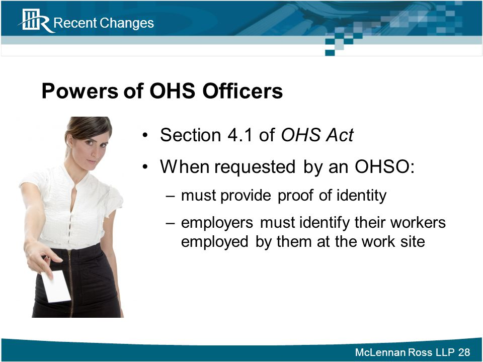 Powers of OHS Officers Section 4.1 of OHS Act