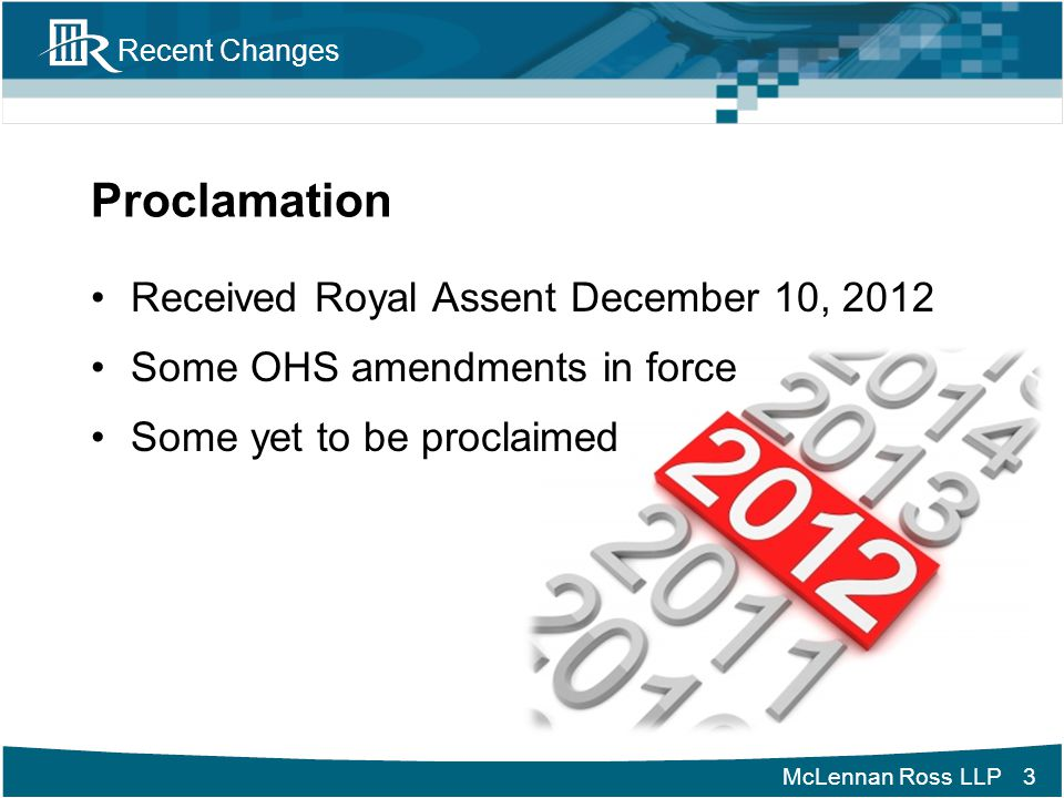 Proclamation Received Royal Assent December 10, 2012